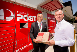Ahmed Fahour and Brad Banducci announce the Parcel Locker partnership.
