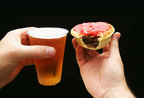Beer and meat pie