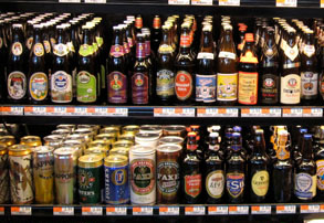 Shelf of beer in supermarket